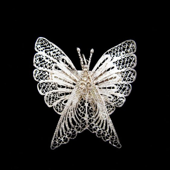 Sterling Silver Filigree Butterfly Brooch - RetroRageVictoria