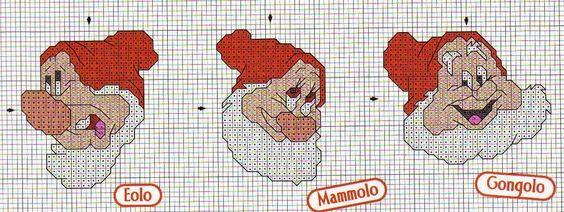 schema punto croce mini schemi sette nani   Hobby lavori femminili - ricamo - uncinetto - maglia