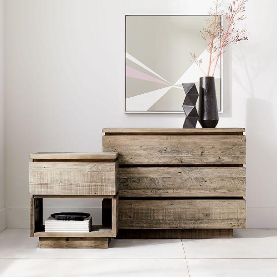 Emmerson Modern Reclaimed Wood 3 Drawer Dresser Stone Gray Reclaimed Wood Nightstand Wood Nightstand Reclaimed Wood Furniture
