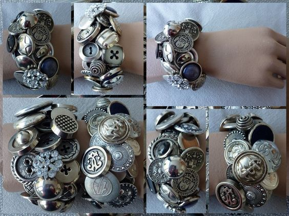 Bracelet made out of 40-60 different and most exclusive and often vintage buttons.   Each bracelet is My own design, exclusieve and Unique .