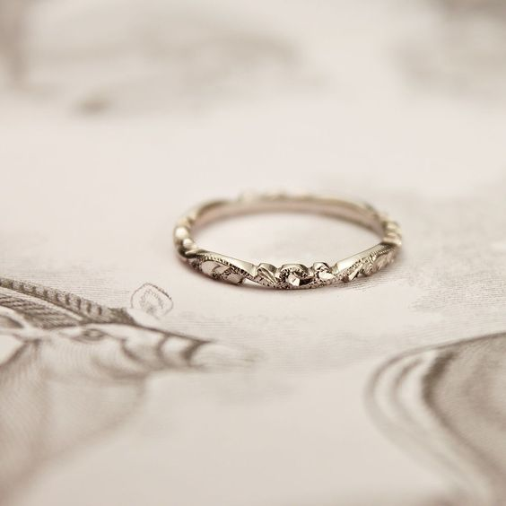 I would love a delicate vintage wedding band.. But a bold and thicker engagement ring band... Haha a conflict. http://www.adlero.com