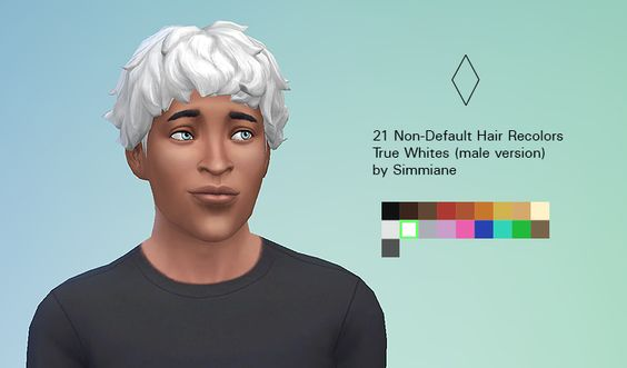 * STATUS tested, eyebrows ? - by SIMMIANE - 21 non-default male hair recolors - True White