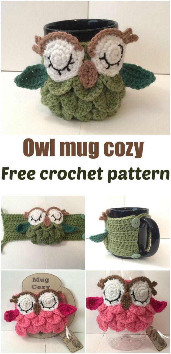 Free crochet pattern for an Owl Mug Cozy.: