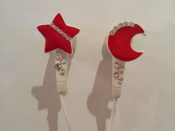 Moon and Star earbuds by HoneyBadgerBuds on Etsy, $12.00