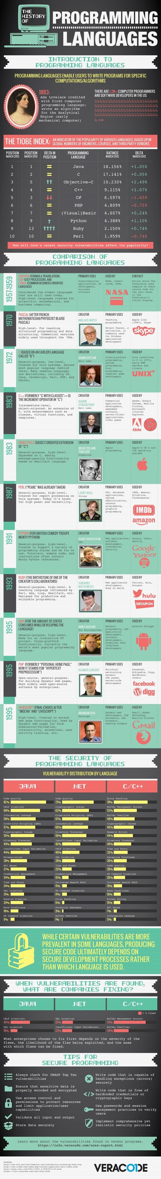 A brief history of computer programming languages #infographic This would be handy to know. :)