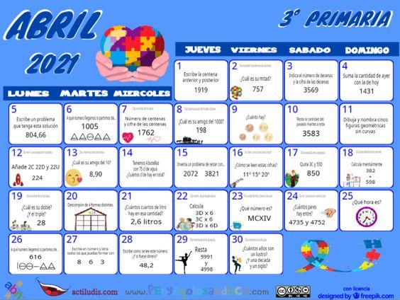 Calendario Tercero ABN – Abril 2021