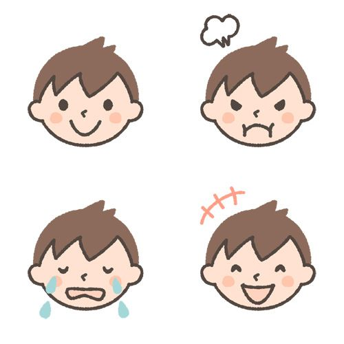 幼児 園児 の男の子の表情イラスト 喜怒哀楽 表情 イラスト イラスト 人物 イラスト