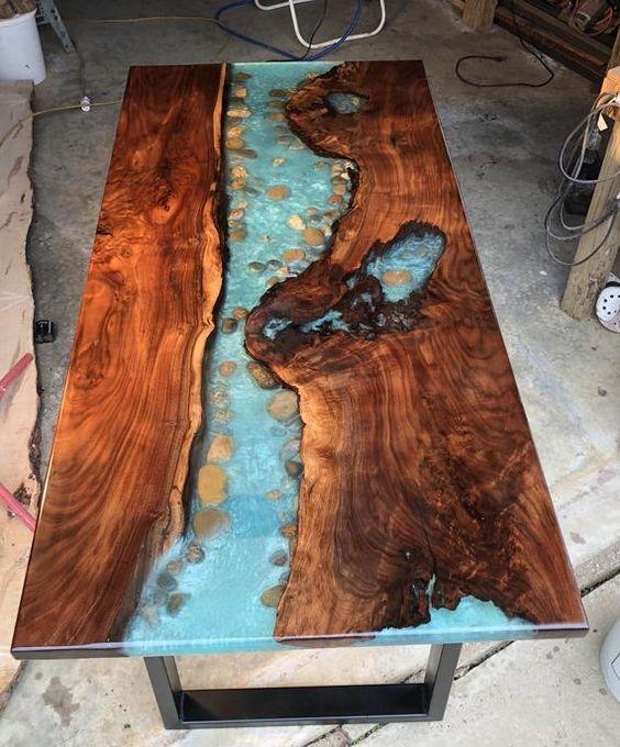 Walnut River Table Live Edge Resin Gorgeous Dining Resin Table Resin And Wood Diy Diy Resin Table