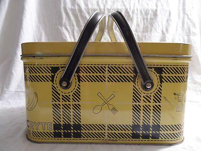 Vintage NESCO Tin Plaid Picnic or Sewing Basket w/2 Swing Handles Picnic Ryte | eBay
