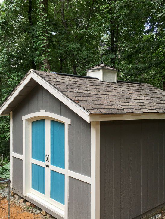 Custom Build A Cute Garden Shed Using A Shed Kit From Lowe S Shed Backyard Sheds Shed Plans