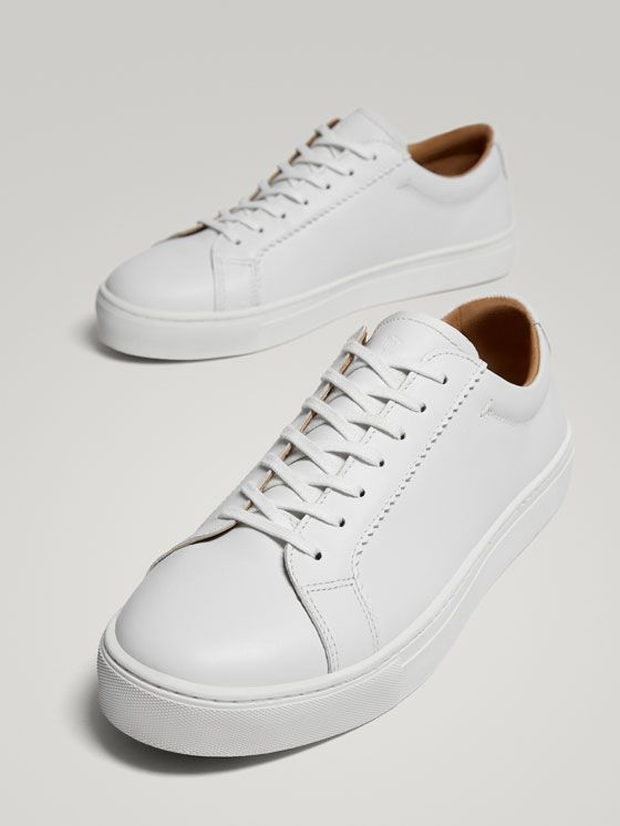 WHITE LEATHER SNEAKERS at Massimo Dutti