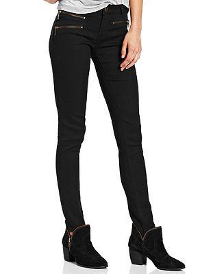 Material Girl Juniors Jeans, Skinny Exposed-Zipper Black Wash ...