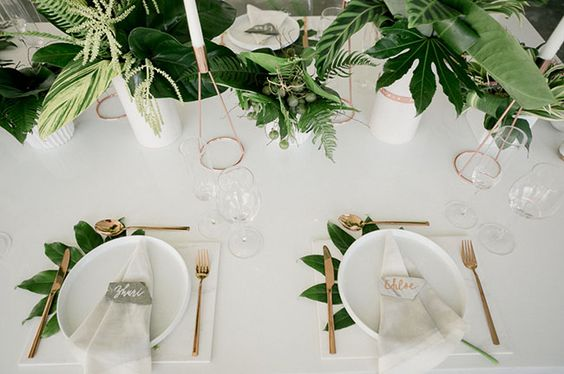 Tropical Wedding Tablescape inspiration - Green Wedding Shoes