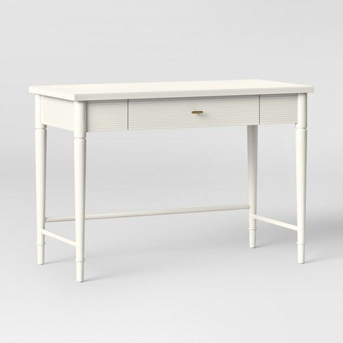 Cambridge Wood Writing Desk With Drawers White Threshold In 2020 Writing Desk With Drawers Wood Writing Desk White Wood Desk