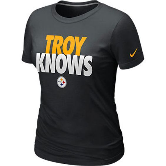 Pittsburgh Steelers Nike Women's Troy Knows Black T-Shirt ...