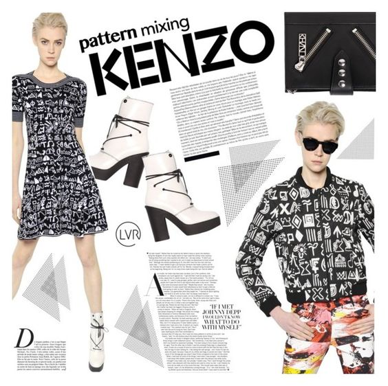 """""""Printed to Perfection with Kenzo"""" by luisaviaroma ❤ liked on Polyvore featuring Kenzo and Anja"""