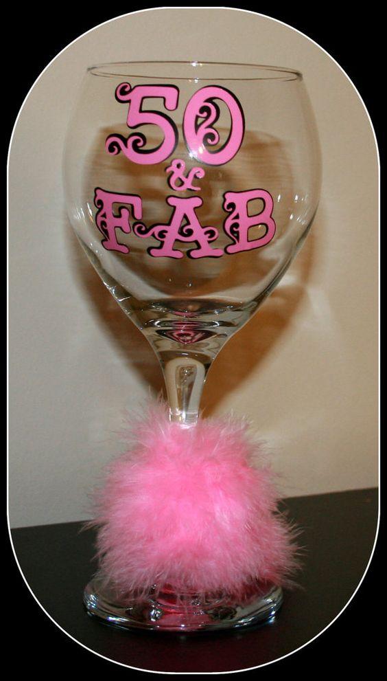 personalized wine glasses  50  u0026 fab wine glass  birthday glasses  monogrammed glasses  happy