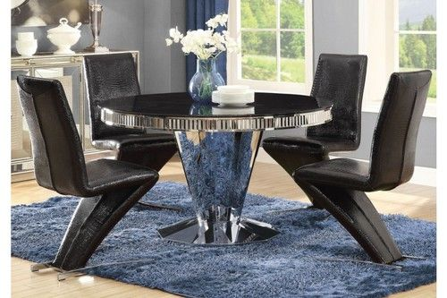 Coaster 5 Pc Barzini Collection Black Round Dining Table Set
