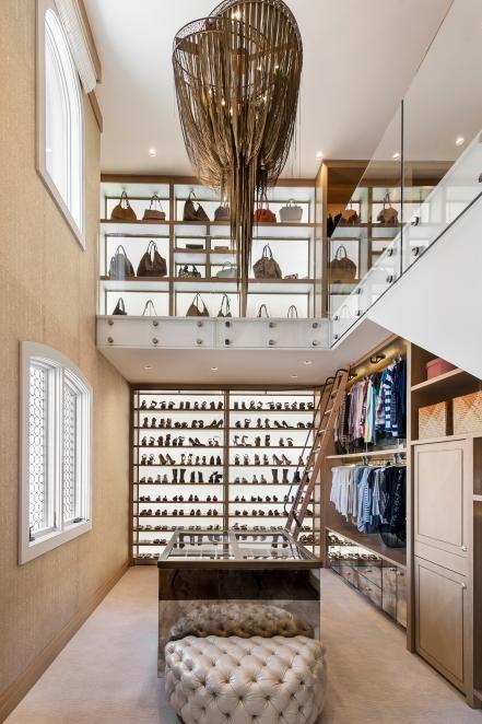 Two-Story Closet With Bronze Chandelier #closet #storage #organization #allenrothCloset #allenAndRothCloset #closetShelves