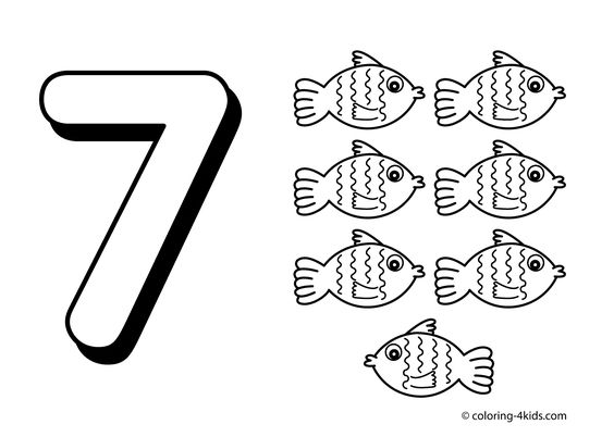 7 numbers coloring pages for kids printable free digits