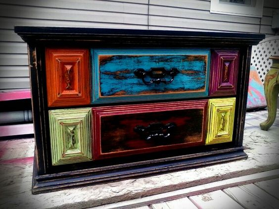 Distressed Multi, Color Distressed, Window Items, Reno Decorating, Colored  Drawers, Black Exterior, Painted Window, Multi Colored, Furniture Makeovers