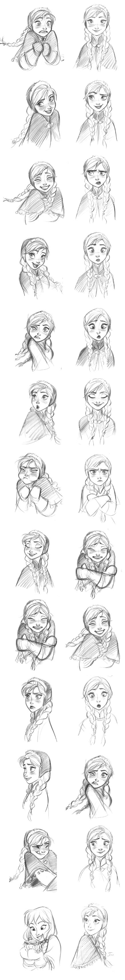 """""""Anna (Frozen)"""" Expressions by Jin Kim* 