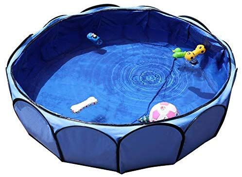 Amazon Com Petsfit Leakproof Fabirc Portable Dog Pool Large Sky Bule Dog Pool Dog Bath Dog Bath Tub