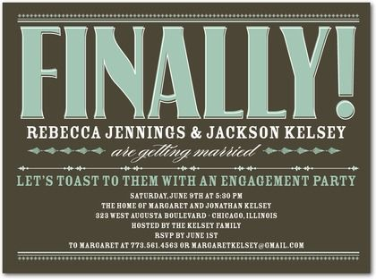 Signature White Engagement Party Invitations Finally Engaged - Front : Dark Gray