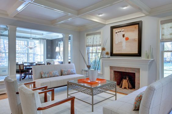 transitional living room by Sheridan Interiors