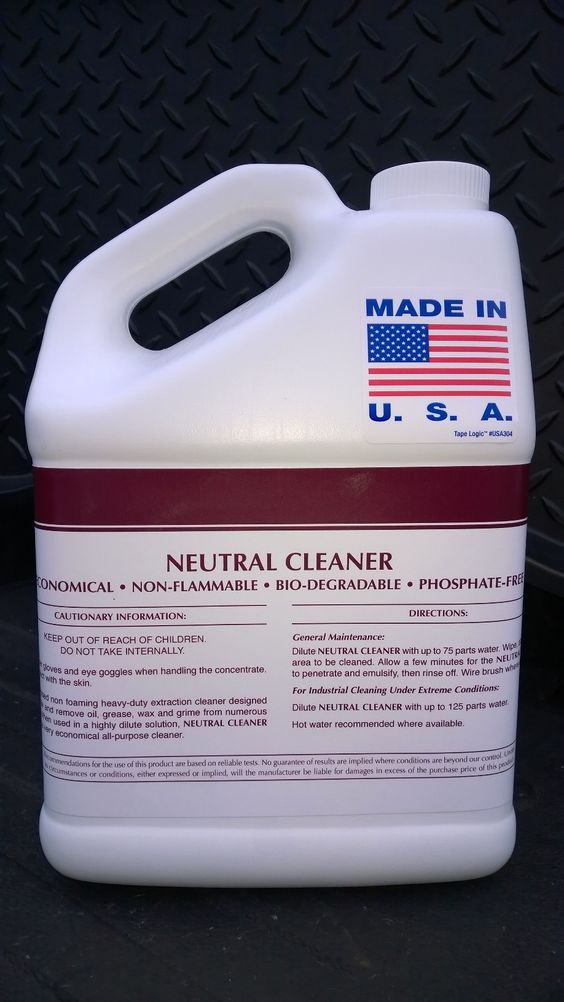NEUTRAL CLEANER CONCENTRATE ~ 1  Gal ~ Economical ~ Biodegradable ~ Neutral pH ~ Non-Flammable ~ Phosphate Free ~ Non-Foaming ~ Numerous Surfaces ~ All Purpose ~ Safe on All Surfaces ~ Extraction Cleaning ~ Penetrates & removes oil, grease, wax, & grime. No worries & done! Call 888-896-4827. Visit patriotchemicalcompany.com.