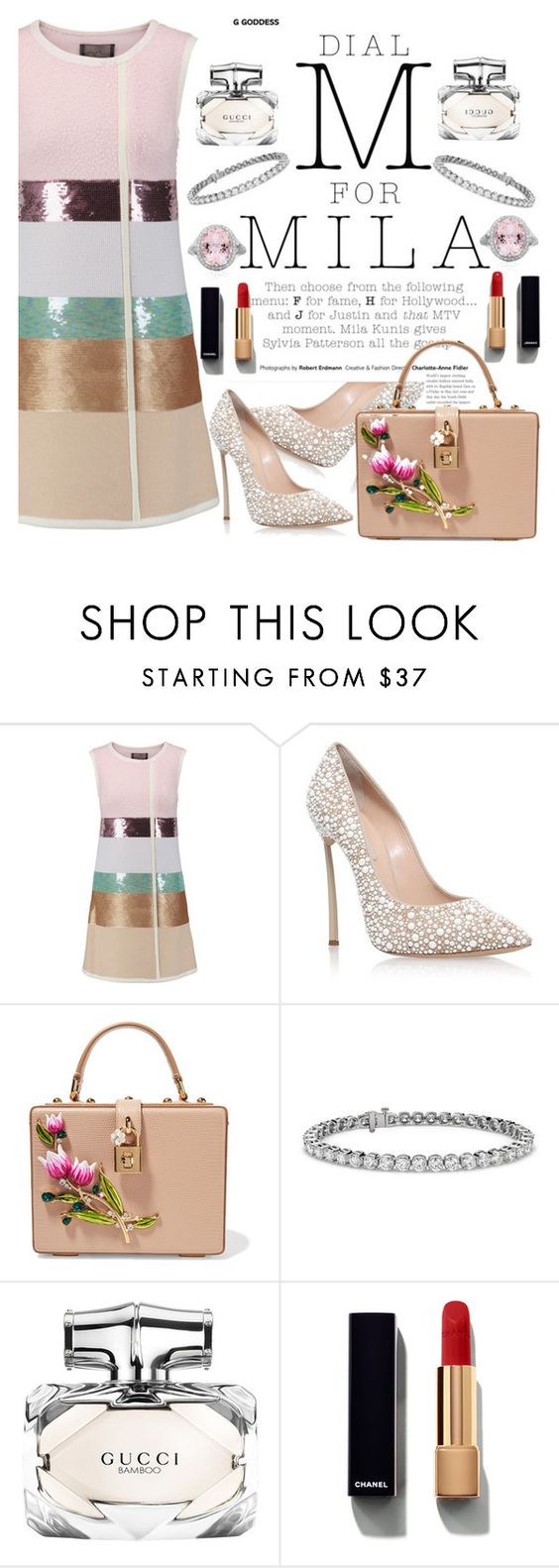 """""""Untitled #1832"""" by anarita11 ❤ liked on Polyvore featuring Giambattista Valli, Casadei, Dolce&Gabbana, Blue Nile, Gucci and Chanel"""
