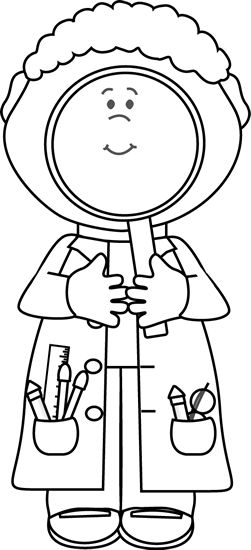 Scientist With Big Magnifying Glass Coloring Sheet For