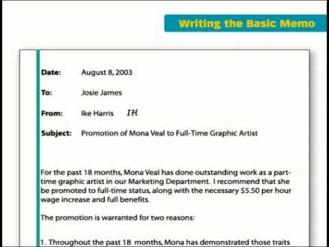 Business Writing Basics Part 1 ADMG 525 - Global Managerial - memo format