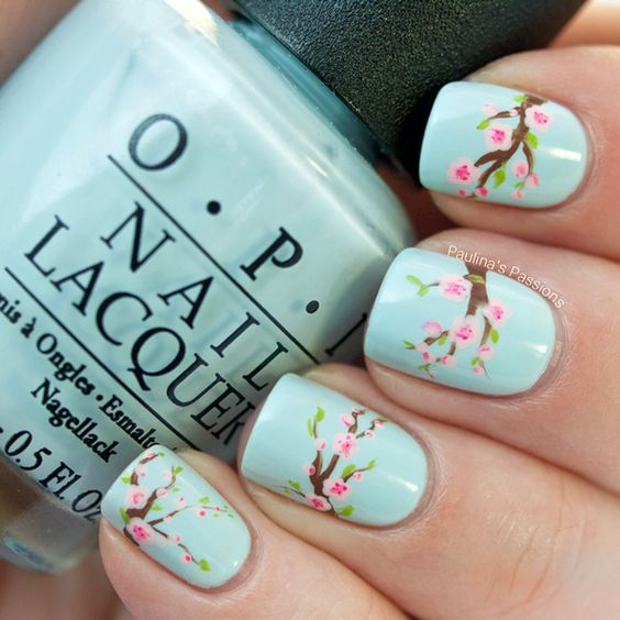 "Spring Nails – Cherry Blossom - Wouldn't this be cute as the ""something blue"" for a spring wedding?  J:"