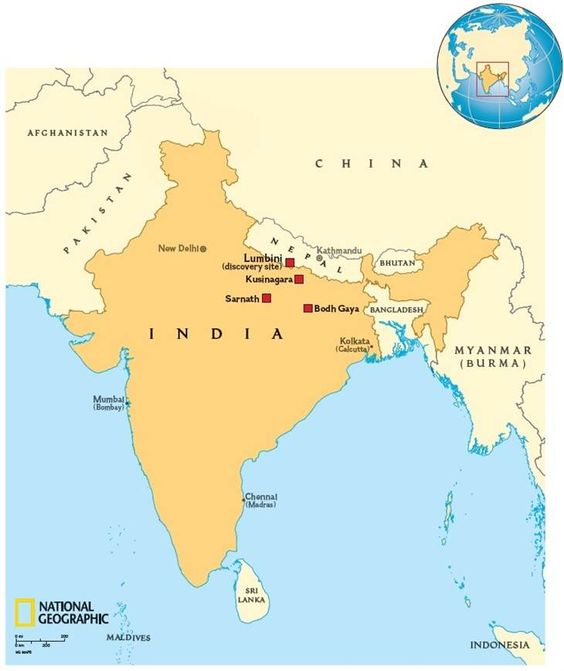 A National Geographic map shows the location of Lumbini, Buddha's birthplace, as well as Buddhism's three other holiest site: Bodh Gaya, where he attained enlightenment; Samath, where he first preached; and Kusinagara, where he died.
