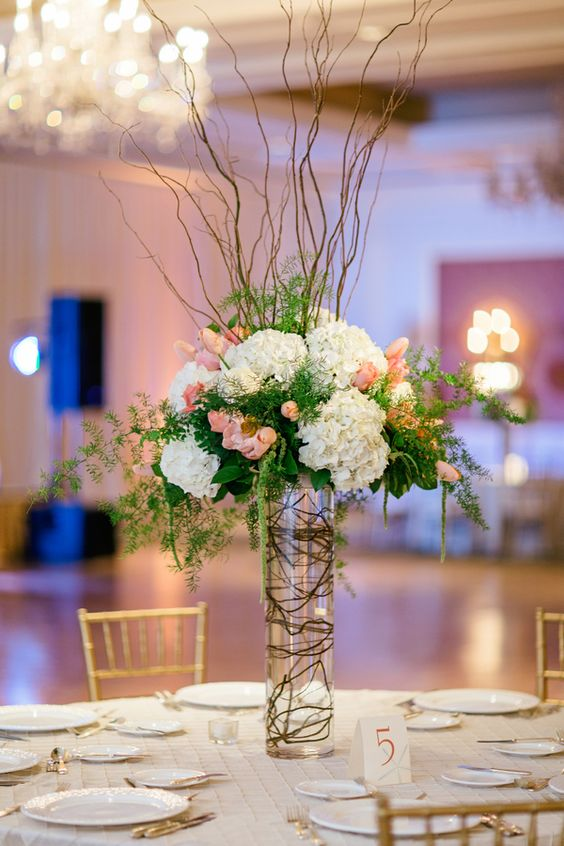 Pink and Green Arrangement With Curly Willow | photography by http://www.brookeimages.com/