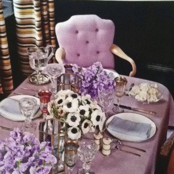 Purple tablescape!  Via house beautiful Liz o'brien