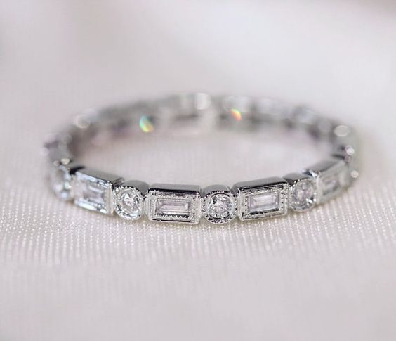unique baguette round14k white gold wedding ring band