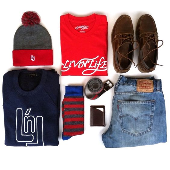 FALL ESSENTIALS  LNL Knit Beanie, Livin' Life!® Tee, LNL Crewneck & Slim Card Case all by @livinlifeco | Manchester Boots by @ghbass | Hiking Socks from @targetstyle | Belt by @americaneagle | 505® Jeans by @levis  www.LivinLifeCo.com  #LivinLifeCo #Levis #AEOStyle #TargetStyle #ThingsOrganizedNeatly