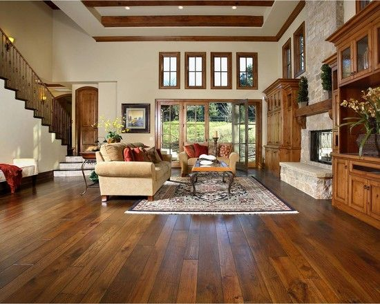 Living room stained wood trim design pictures remodel for Living room ideas oak flooring