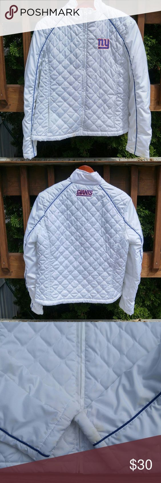 NY Giants Jacket Super cute, lightweight jacket. Official, from the NFL Store online. A must for New York Giants fans!   Some discoloration on bottom of sleeves and near zipper. See photos! NFL Jackets & Coats