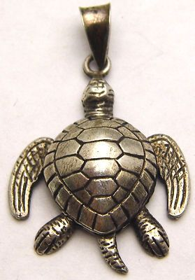 Vintage Sea Turtle Pendant w/ Moveable Limbs & Head 925 Sterling Silver