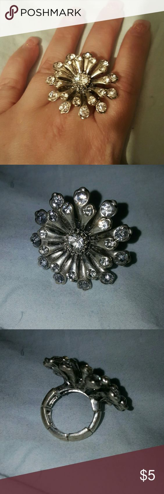 Sunburst Adjustable Ring Silver setting, clear crystals.  New with out tags Jewelry Rings