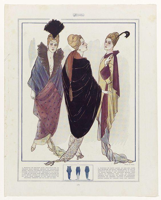Anonymous | Fémina, ca. 1914, p. 173 en p. 174: 1. MANTEAU DE VELOURS BLEU..., Anonymous, c. 1914 | Drie vrouwen in verschillende mantels. 1. Mantel van blauw fluweel, verlengd met roze gebrocheerd fluweel. Grote kraag van geplooide zwarte mousseline. 2. Cape van zwart fluweel gevoerd met rood satijn. 3. Mantel van geel satijn, aan de achterzijde is een pelerine van paars satijn bevestigd. Kraag en manchetten van hetzelfde paarse satijn. Middenonder kleine lijntekeningen van de andere kant…