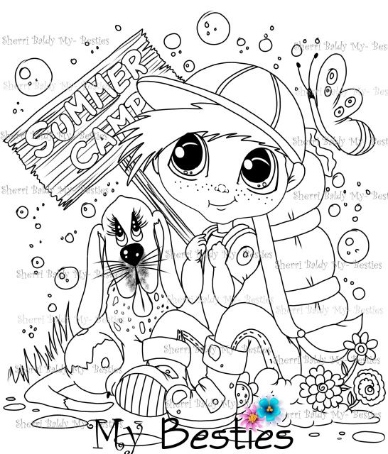 Summer Fun Bestie Doll Img 13 Instant Download Sherri Baldy My Bestie Digi Stamp Coloring Page Coloring Pages Digi Stamps Face Painting Halloween