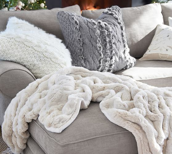 Ruched Faux Fur Oversized Throw Ivory Pottery Barn In 2020 Faux Fur Throw Cream Throw Blanket Winter White Decor