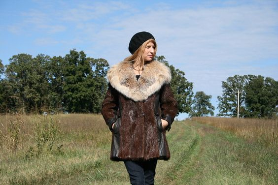 Vintage 60s 70s FOX Fur Beaver Leather Coat M  by RubyChicBoutique, $265.00