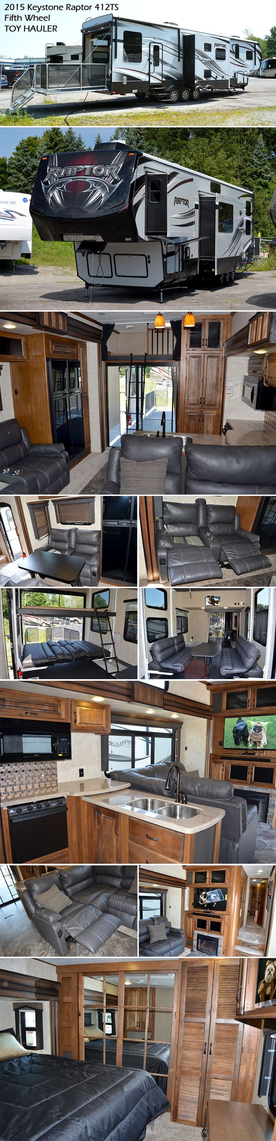You will have no problem traveling with your favorite toys in this 2015 Keystone Raptor 412TS fifth wheel TOY HAULER. There is a side man door in the garage for easy access, a twin loft bed above the garage that the kids will surely love, and an electric bed with dual opposing sofas in the rear for more sleeping space at night and lounging during the day. The main living area has an L-shaped hide-a-bed with recliner combined. On the opposite wall is more seating with a dual recliner.