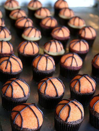 Pretty basketball cupcakes