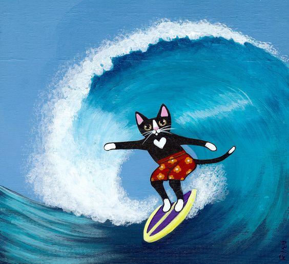 Surfs Up Riding the Wave Original Cat Folk Art by KilkennycatArt